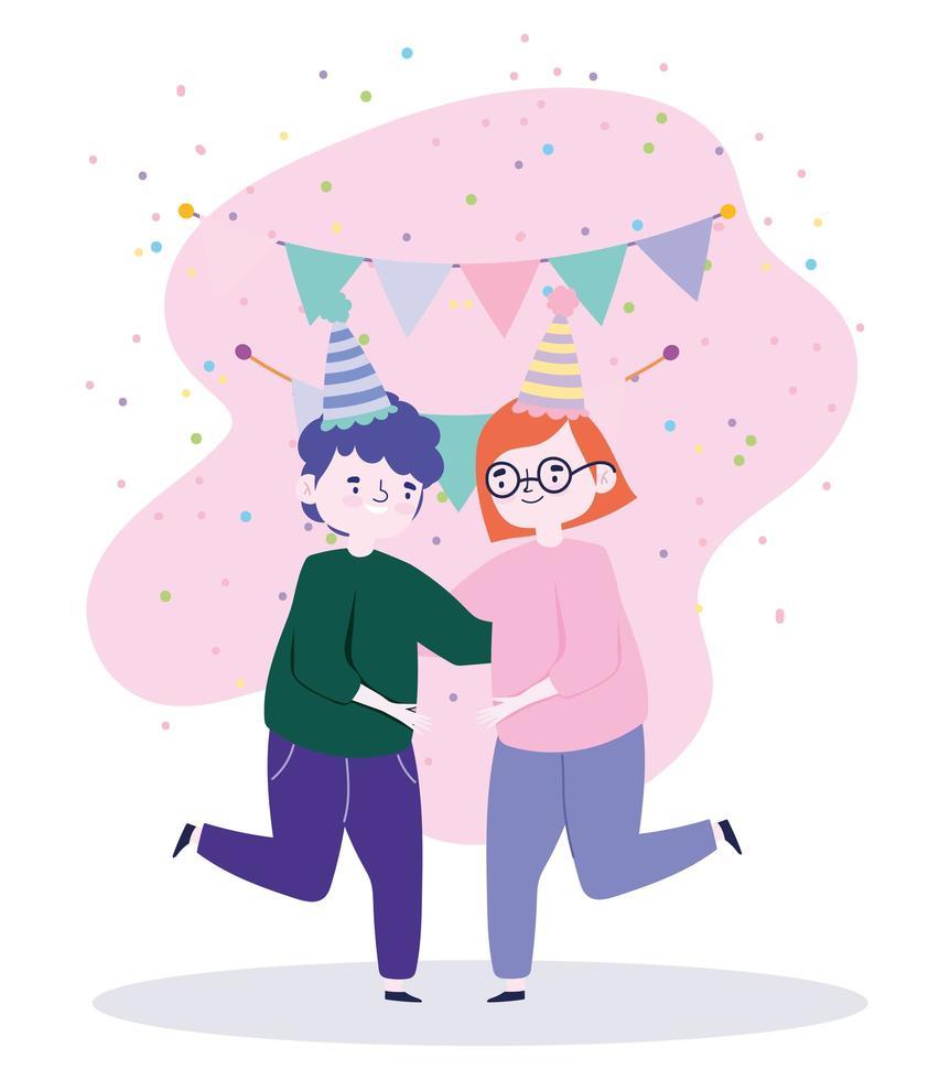 groupe de personnes ensemble pour célébrer un événement spécial, heureux couple dansant célébrant vecteur