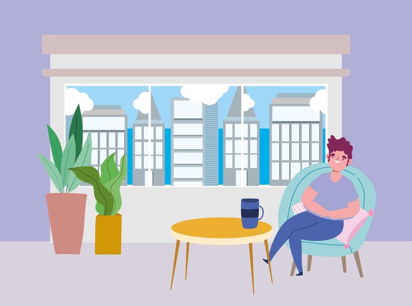 restaurant à distance sociale ou un café, jeune homme assis avec une tasse de café, coronavirus covid 19, nouvelle vie normale vecteur