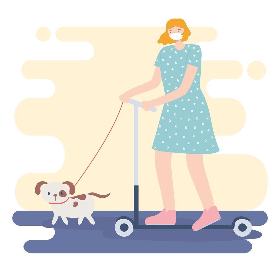 personnes avec masque médical, femme en trottinette avec chien, activité de la ville pendant le coronavirus vecteur