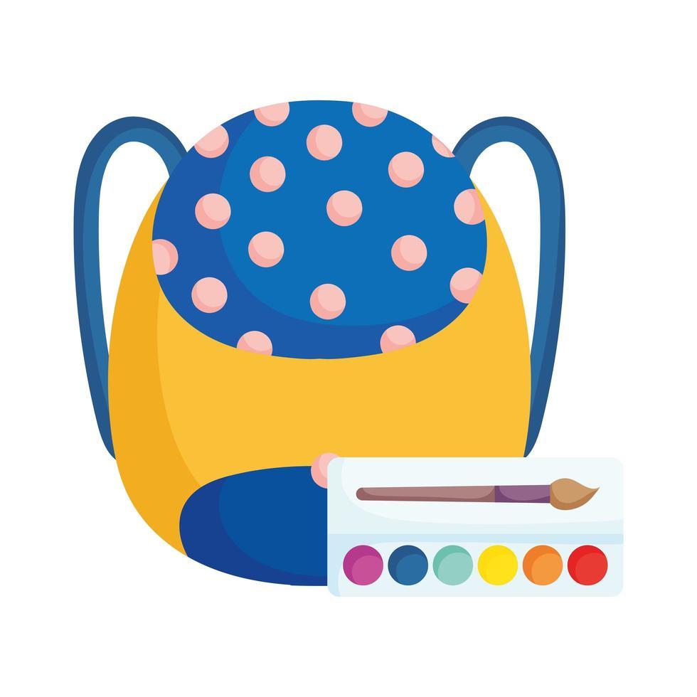 retour à l'école sac à dos et palette de couleurs art de la brosse vecteur