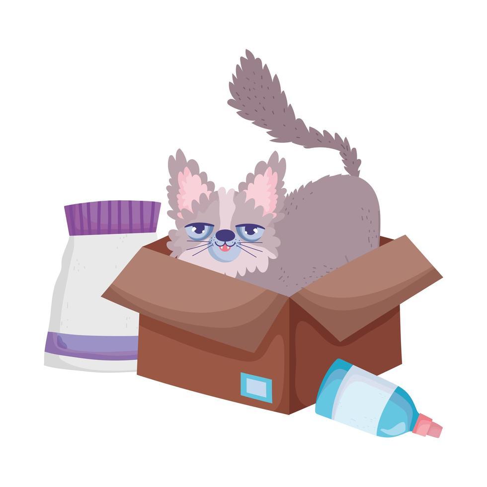 mignon minou dans une boîte en carton avec des animaux de compagnie vecteur
