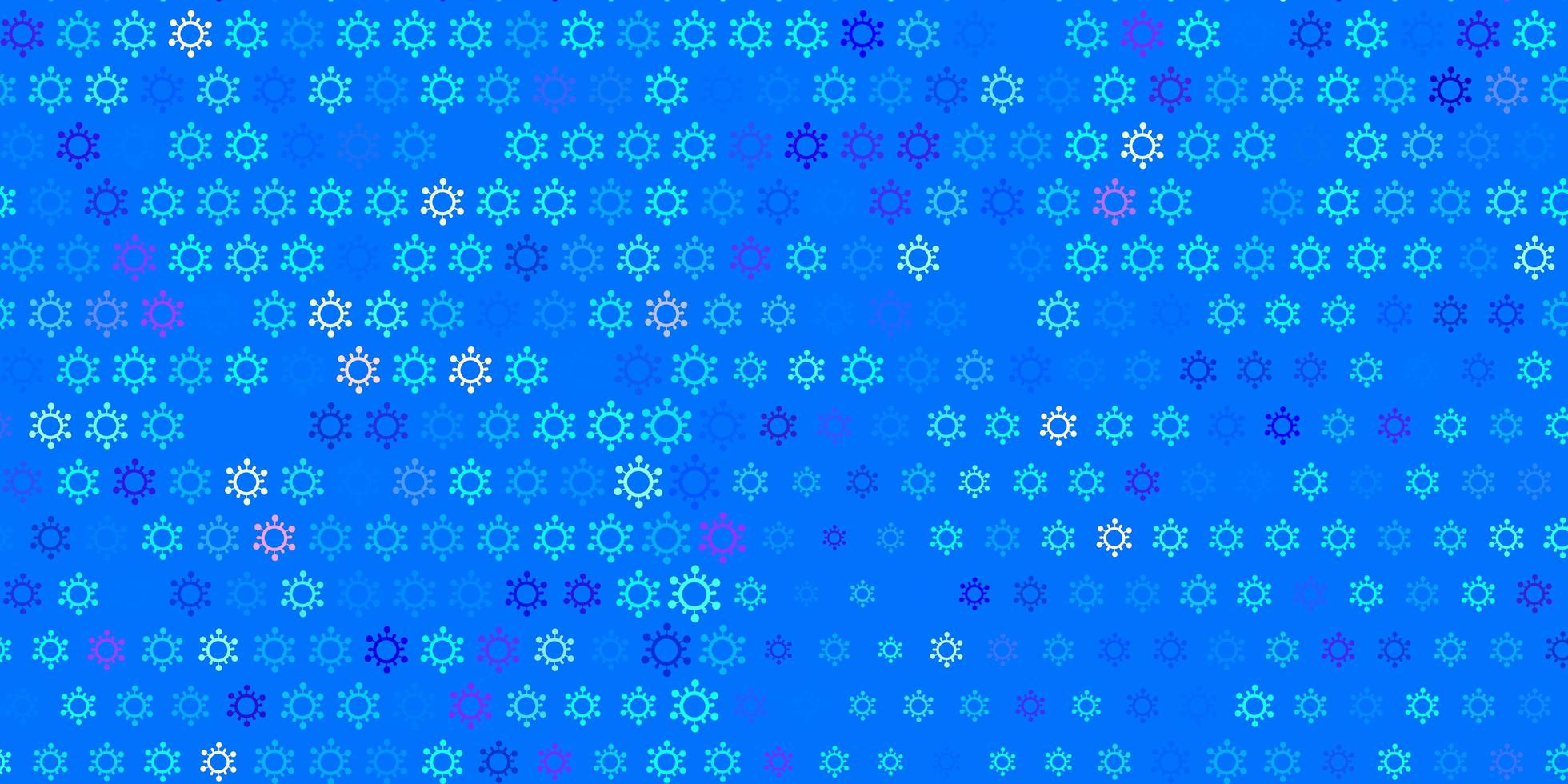fond de vecteur rose clair, bleu avec symboles covid-19.