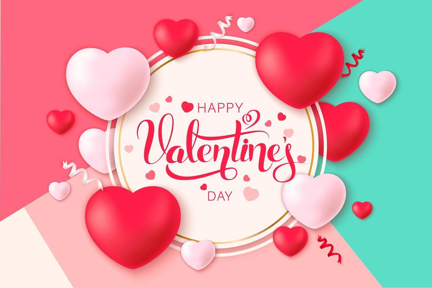 Happy Saint Valentin fond avec coeurs et confettis sur fond incliné vecteur