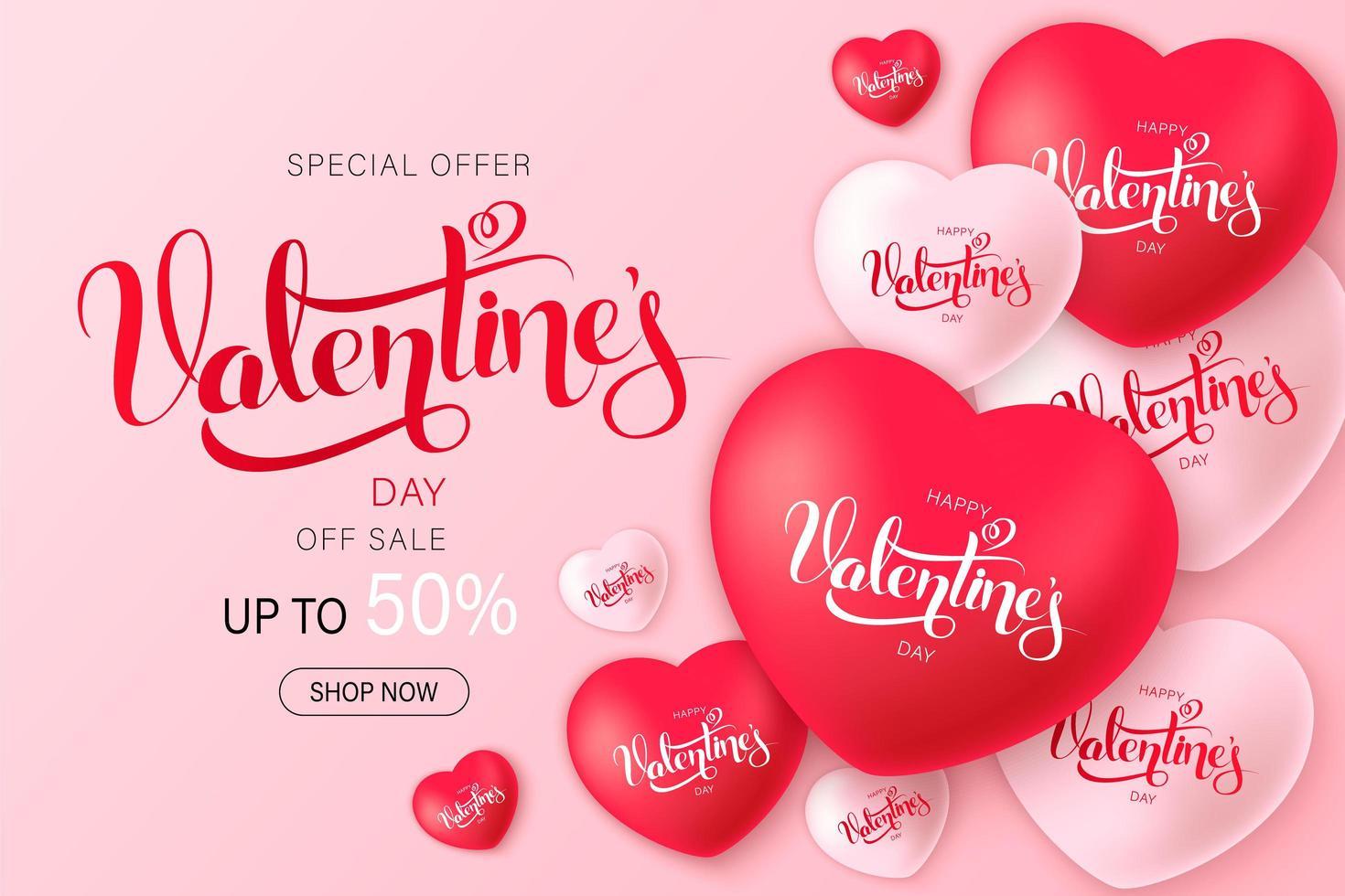 conception de vente bonne saint valentin avec des coeurs de décoration vecteur