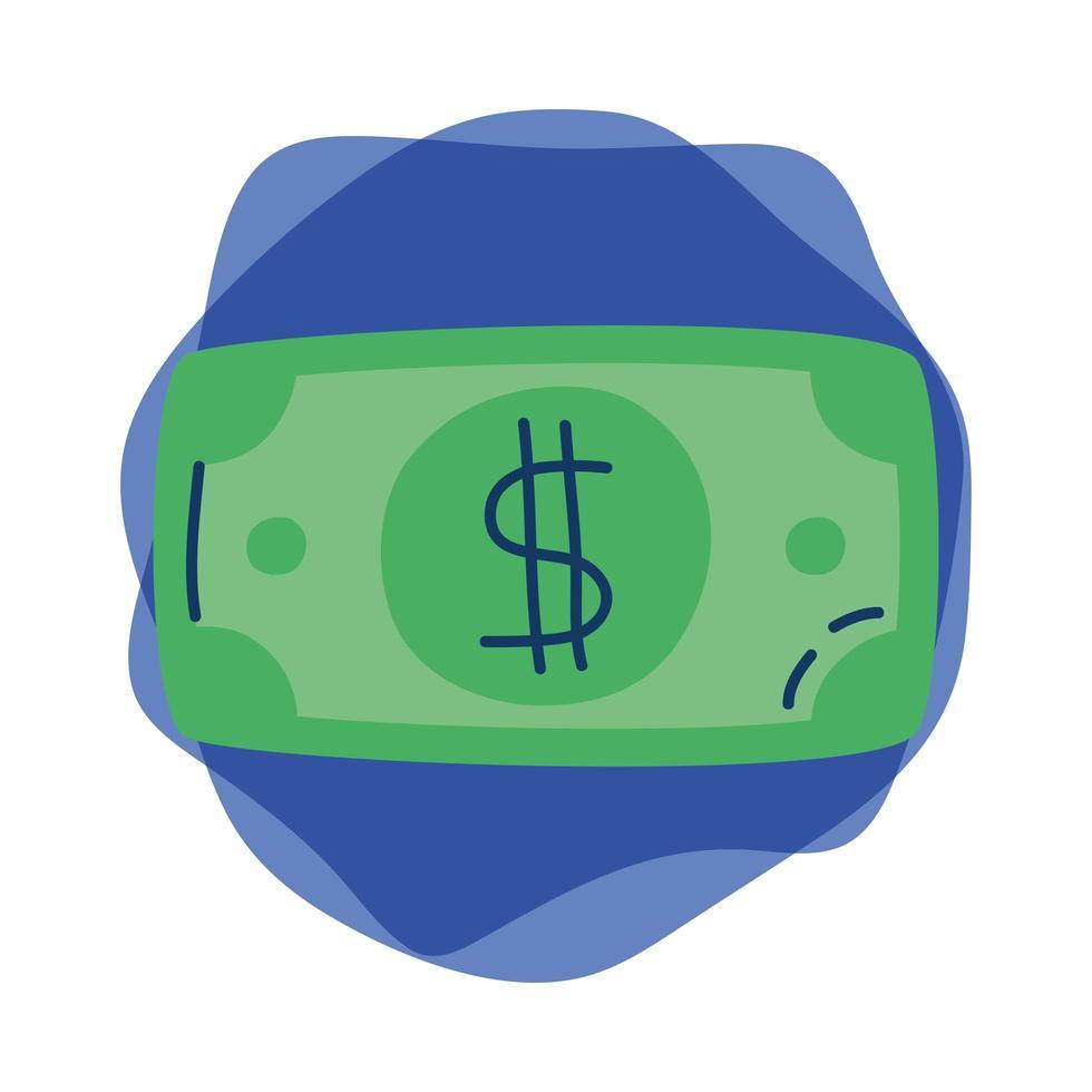 Icône isolé de facture argent dollar vecteur