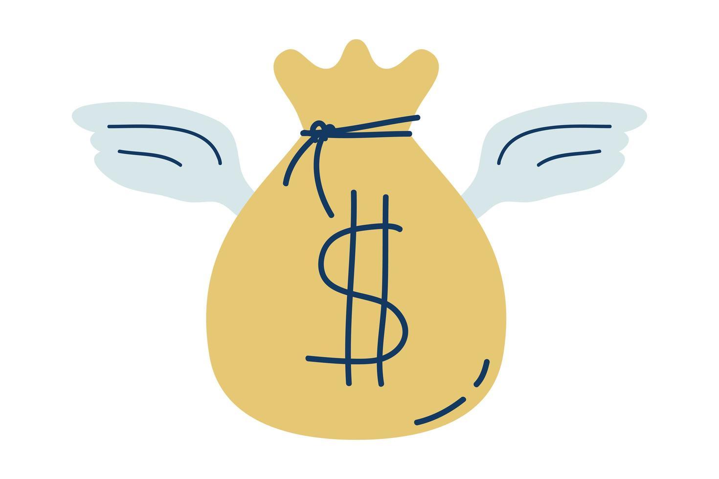sac de dollar en argent avec des ailes volant vecteur