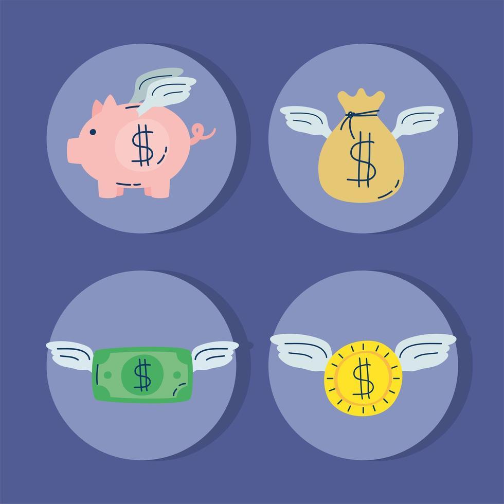 dollars d & # 39; argent et piggy volant vecteur