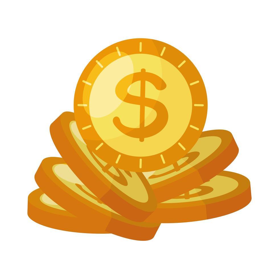 Icône isolé de pièces de monnaie argent dollars vecteur