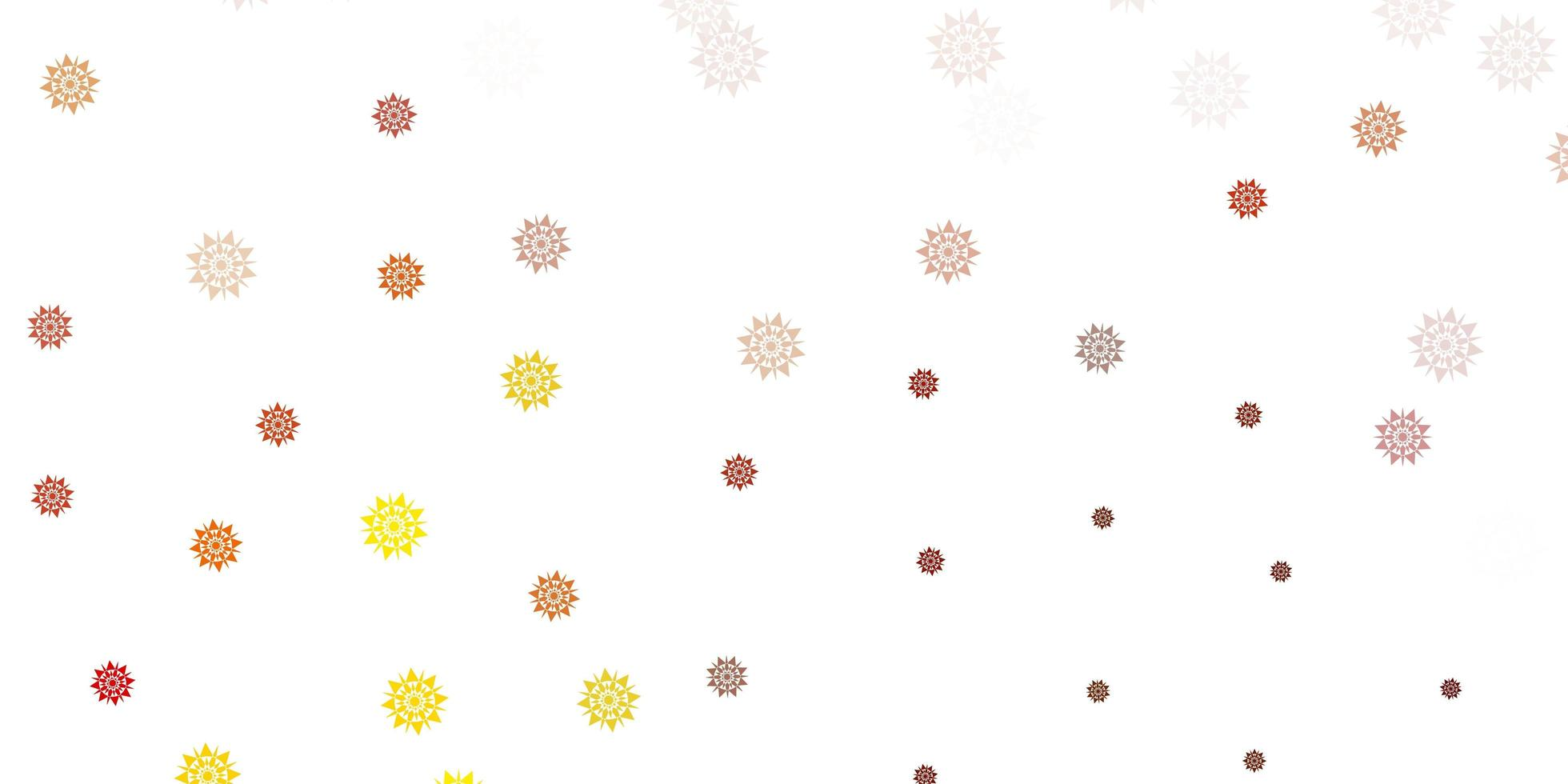 fond de vecteur jaune clair avec des flocons de neige de Noël.