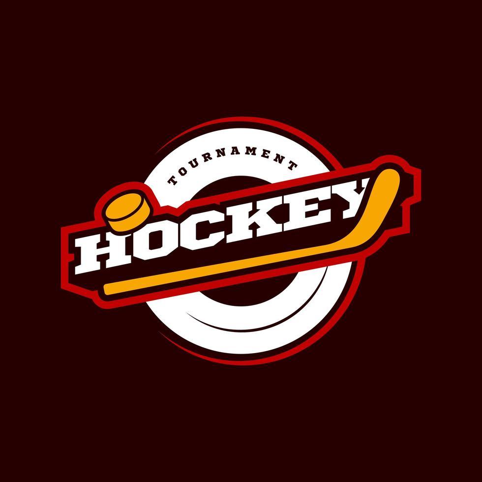 logo de sport de hockey. championnat de hockey sportif professionnel moderne ou typographie de tournoi dans un style rétro avec bâton et rondelle. emblème de conception de vecteur, insigne et conception de logo de modèle sportif. vecteur