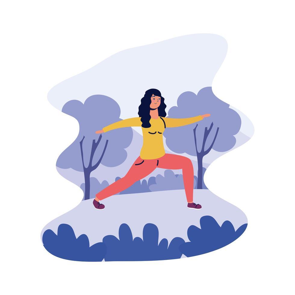 jeune femme, pratique, exercice vecteur