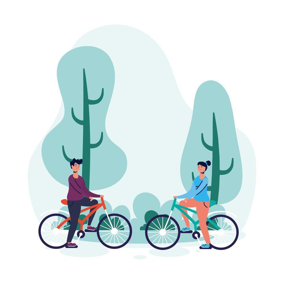jeune couple à vélo vecteur