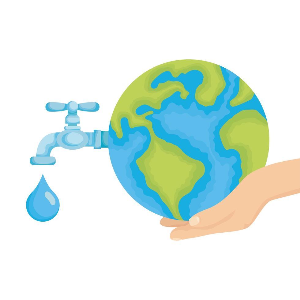 Main soulevant la planète terre du monde avec le robinet d'eau ouvert vecteur