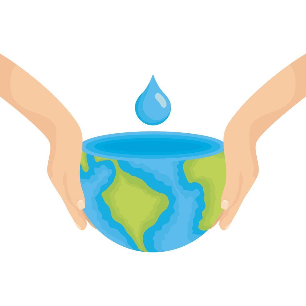 mains soulevant la planète terre du monde avec de l'eau goutte vecteur