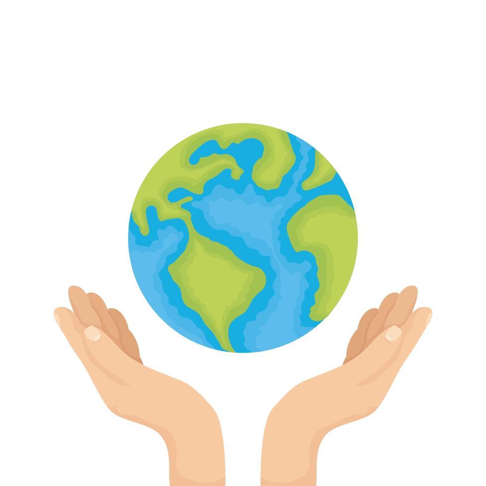 mains soulevant la planète terre du monde vecteur