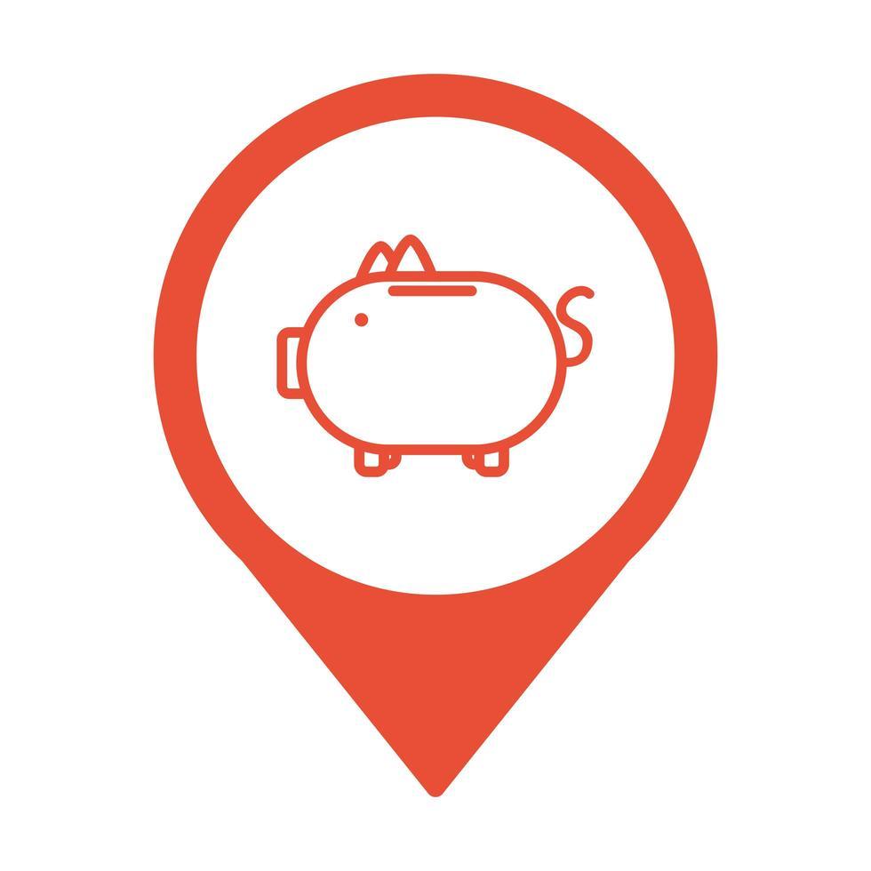 Piggy épargne de l'argent à l'emplacement de la broche vecteur