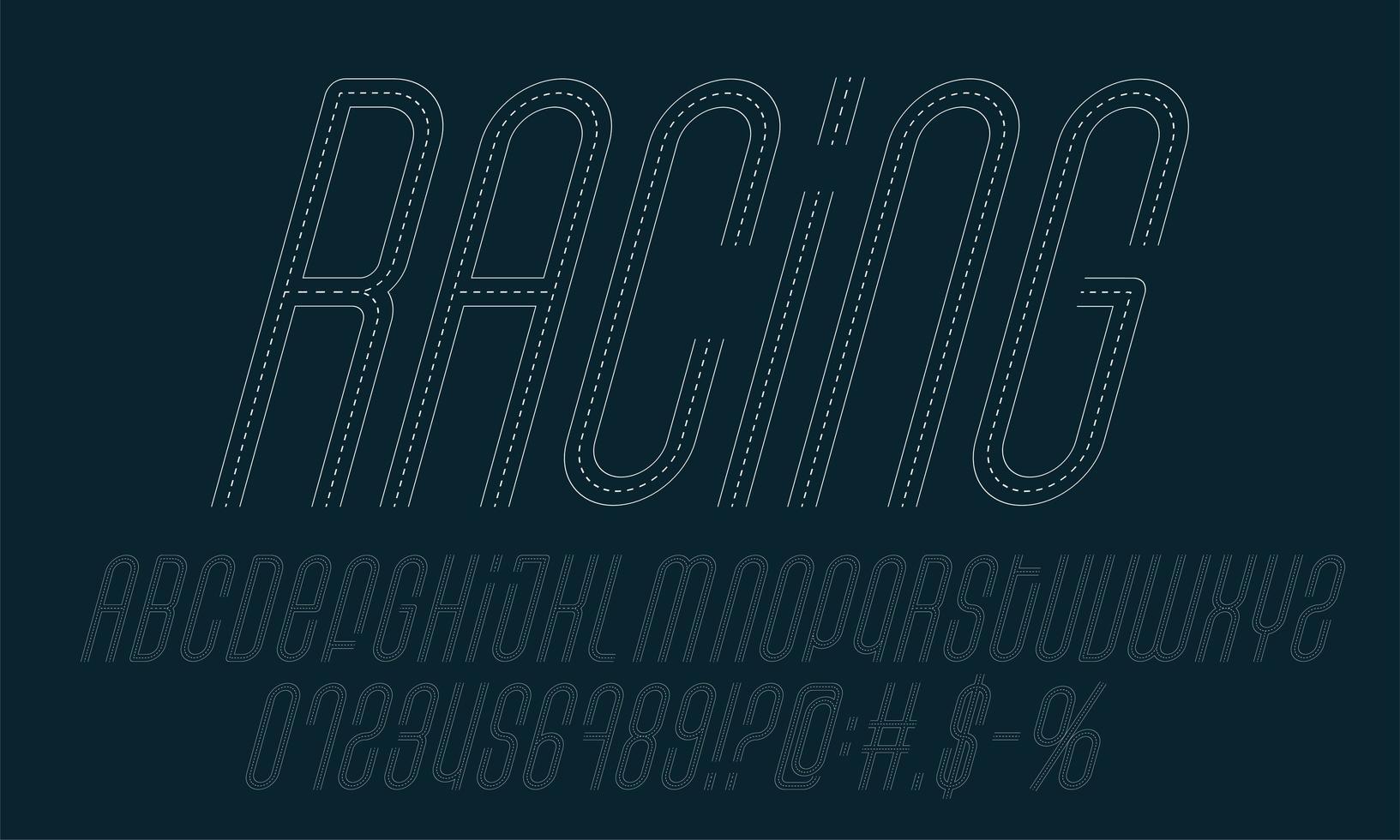 jeu d & # 39; alphabet de route de course vecteur