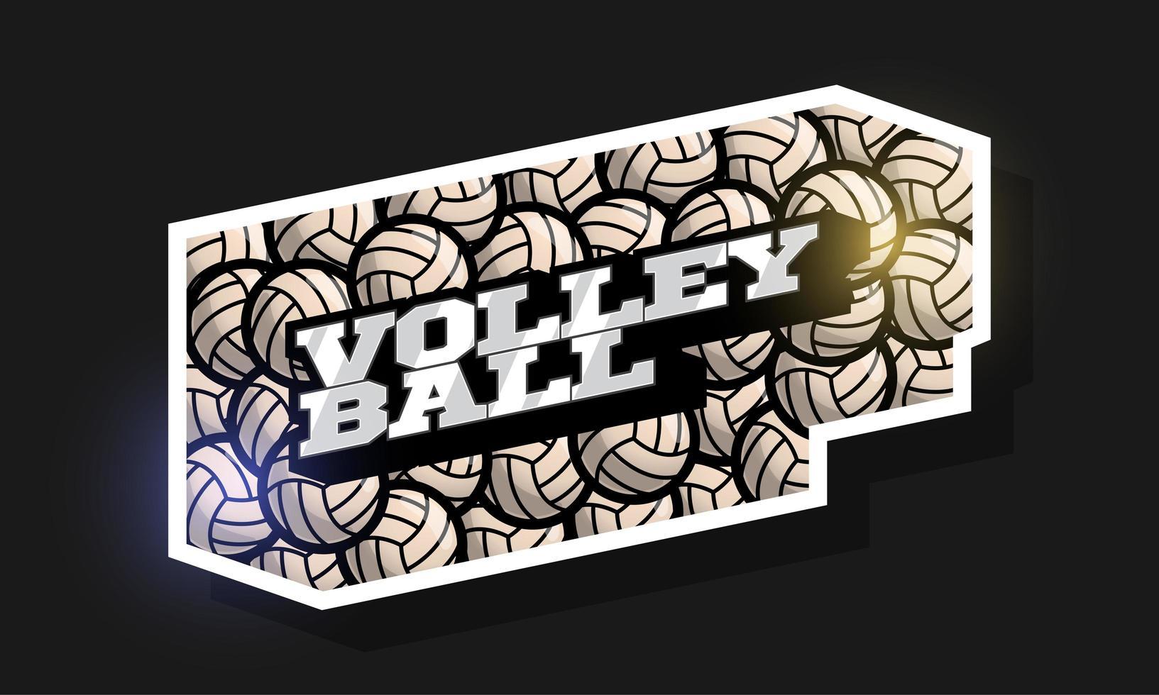 typographie professionnelle moderne volleyball sport style rétro vecteur