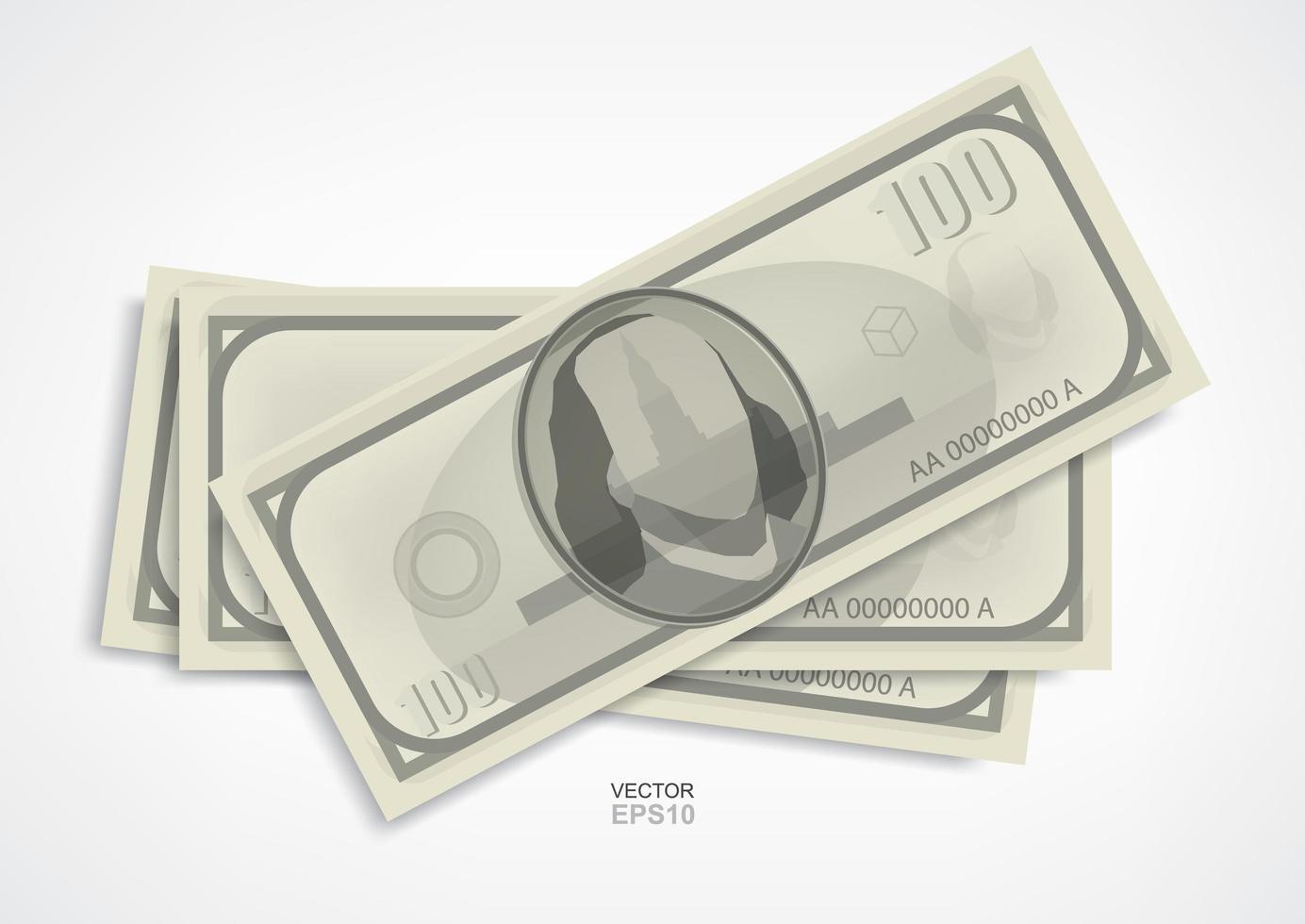 billets en dollars sur fond blanc. vecteur. vecteur