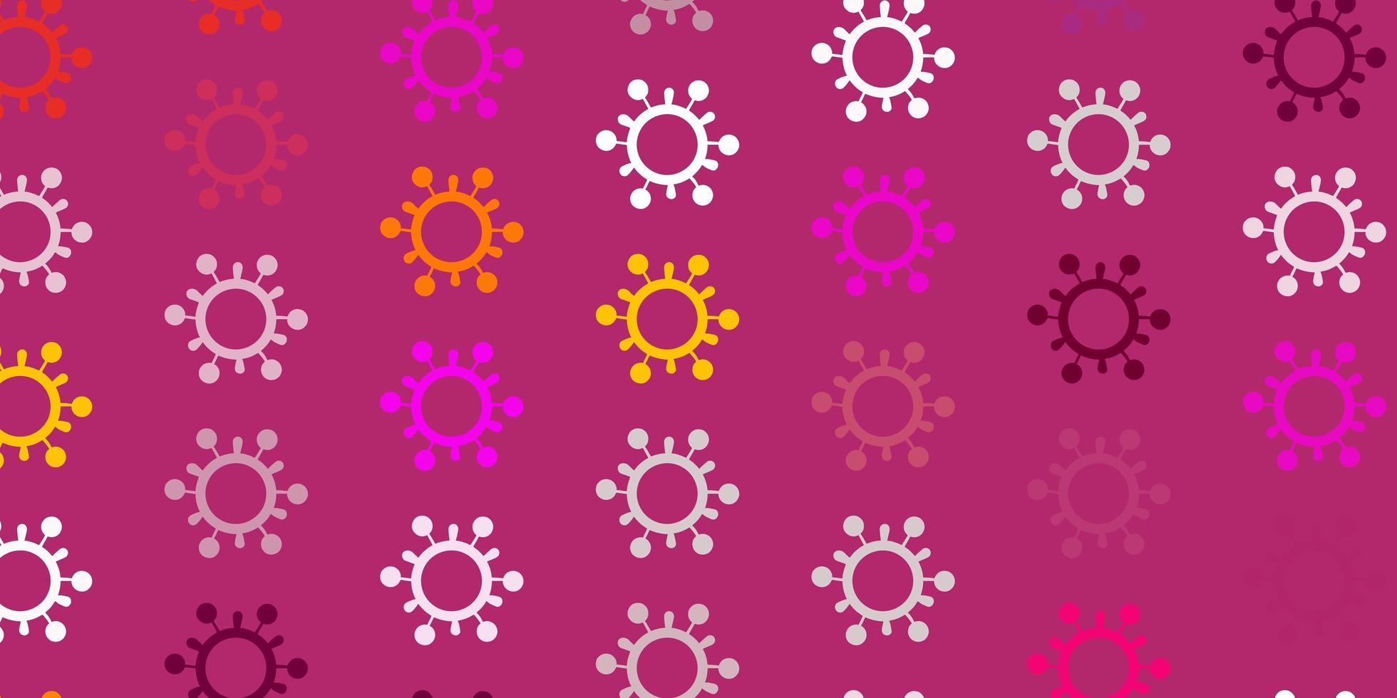 fond de vecteur rose clair, jaune avec symboles covid-19.