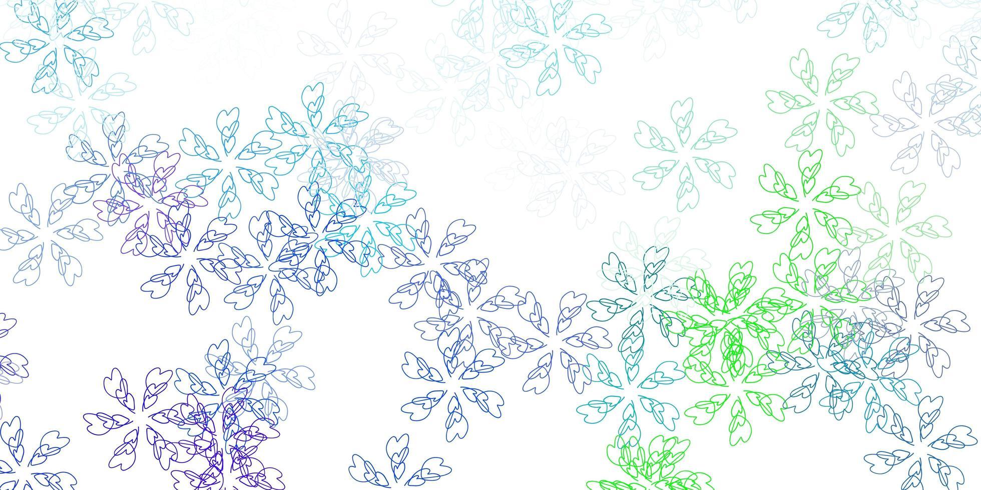 modèle abstrait de vecteur bleu clair, vert avec des feuilles.