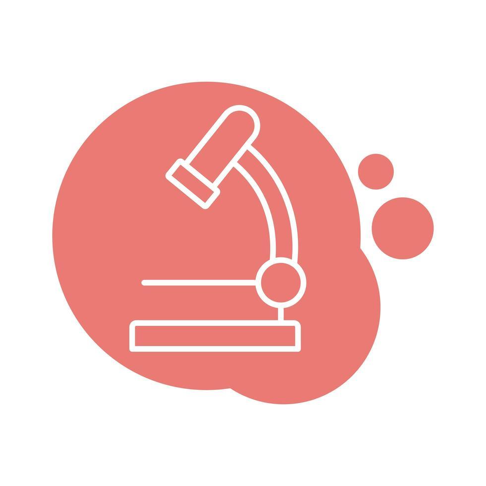 icône de style de bloc de laboratoire microscope vecteur