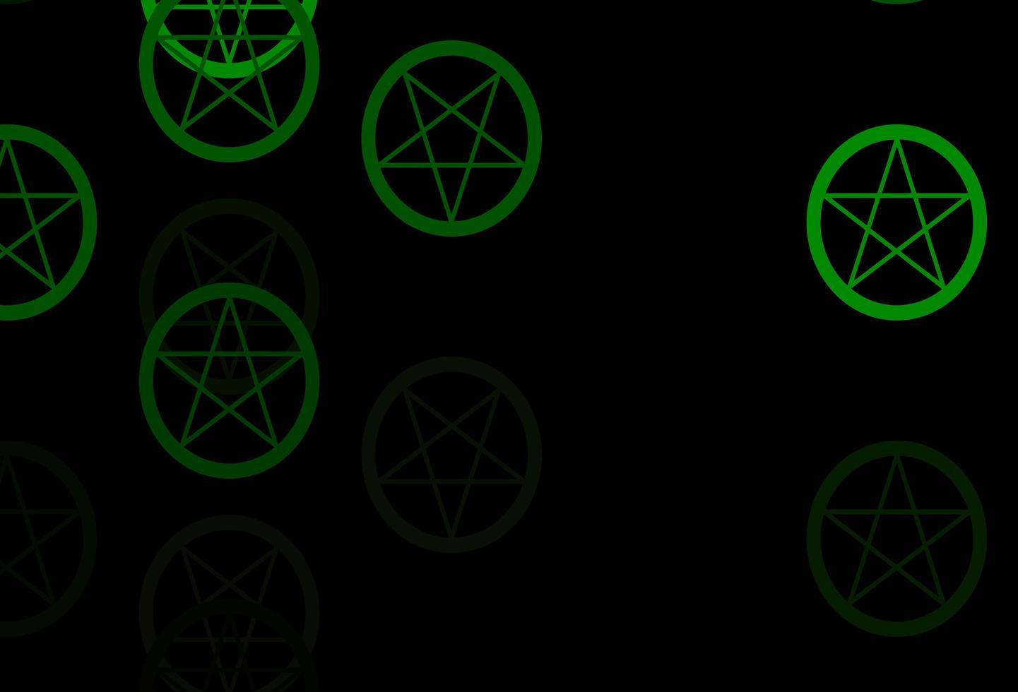 fond de vecteur vert foncé avec des symboles occultes.