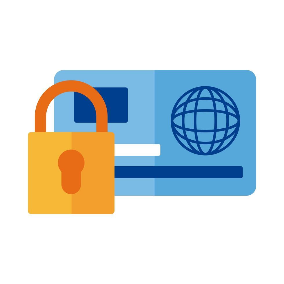carte de crédit et paiement par cadenas style plat en ligne vecteur