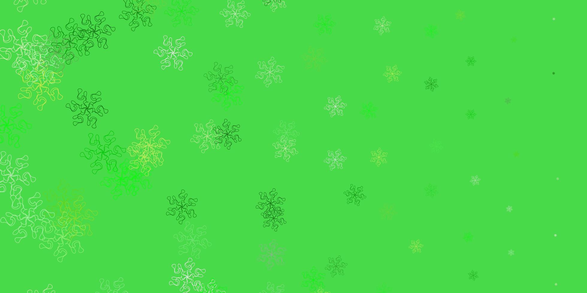 texture de doodle vecteur vert clair, jaune avec des fleurs.