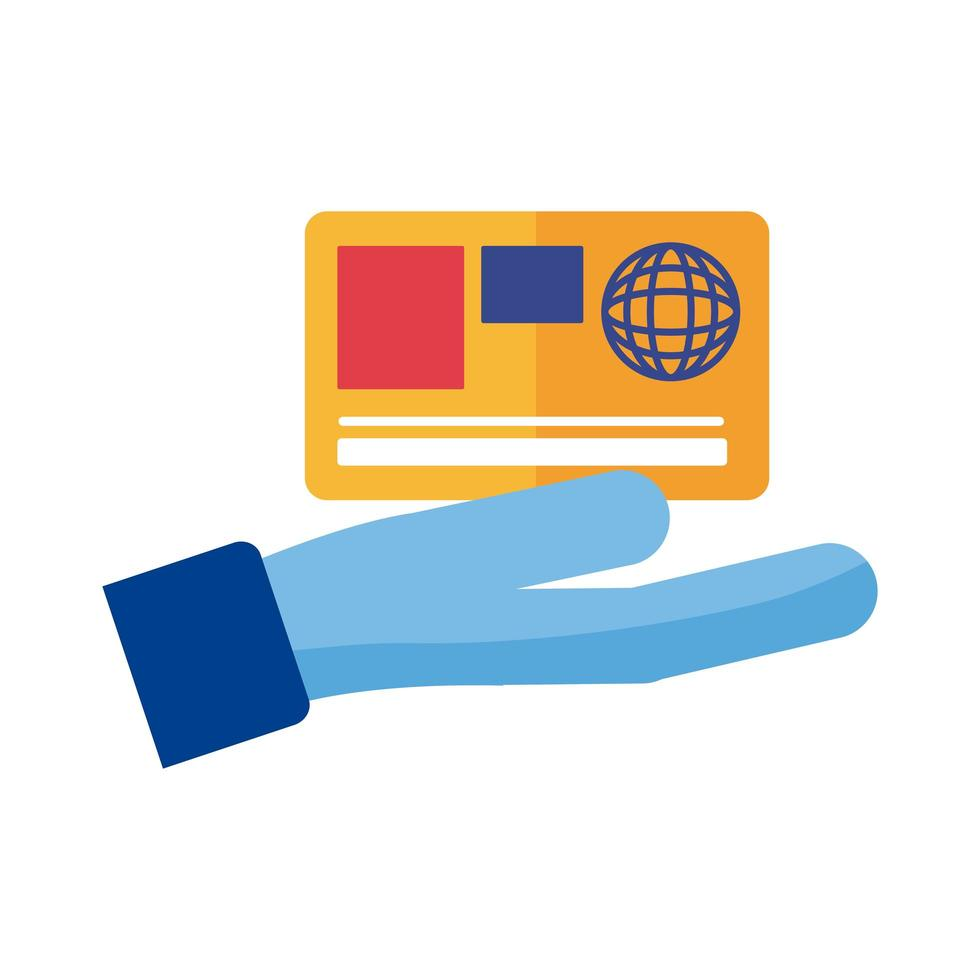 main avec paiement par carte de crédit style plat en ligne vecteur