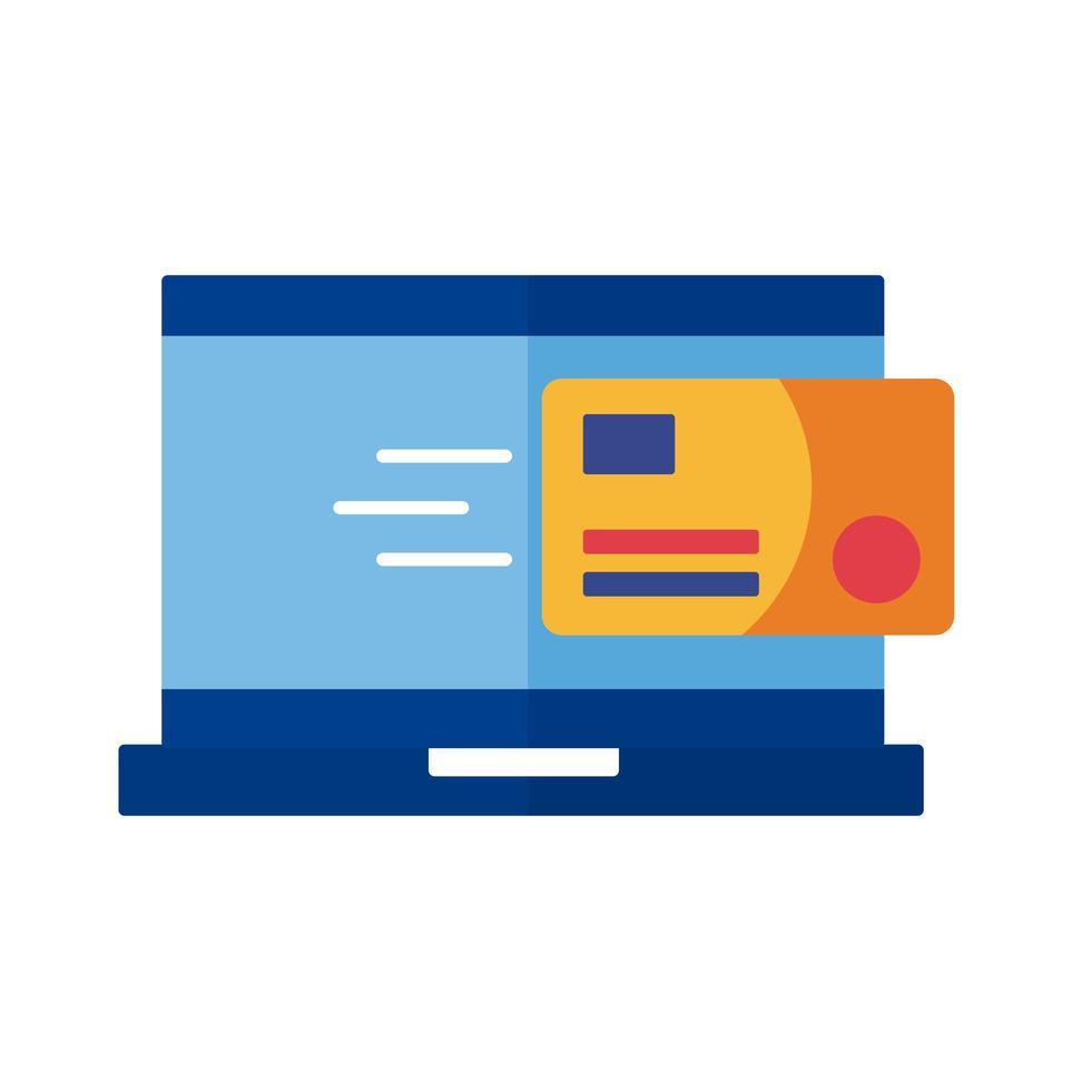 carte de crédit avec paiement par ordinateur portable style plat en ligne vecteur