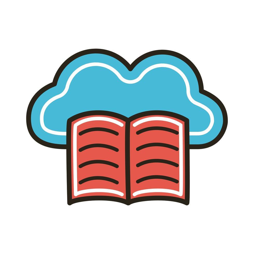livre électronique avec éducation au cloud computing vecteur