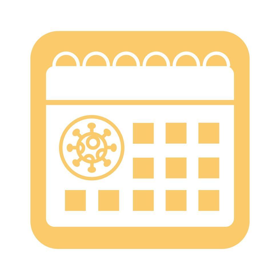 calendrier avec style de ligne de particules de virus covid19 vecteur