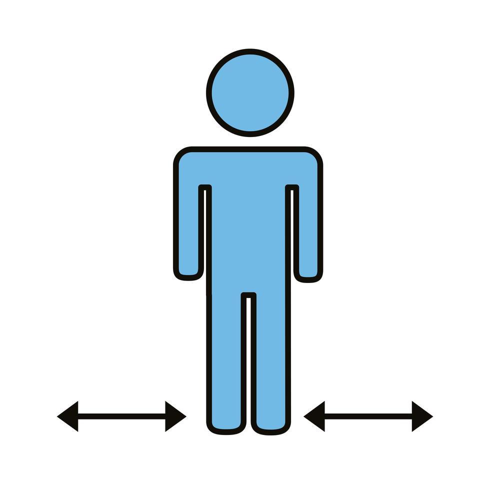 figure humaine avec des flèches pour la distance sociale vecteur