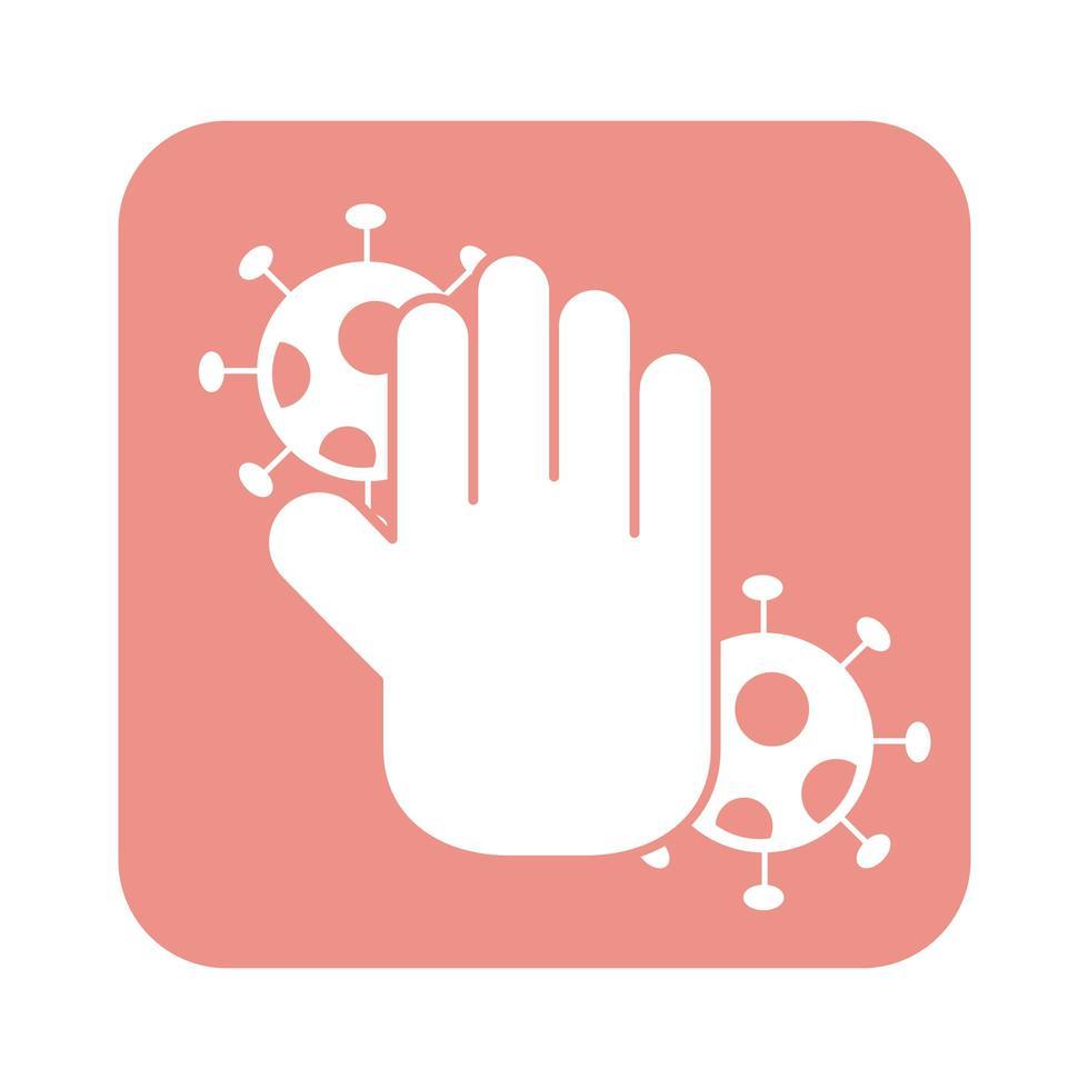 main avec style de ligne de particules de virus covid19 vecteur