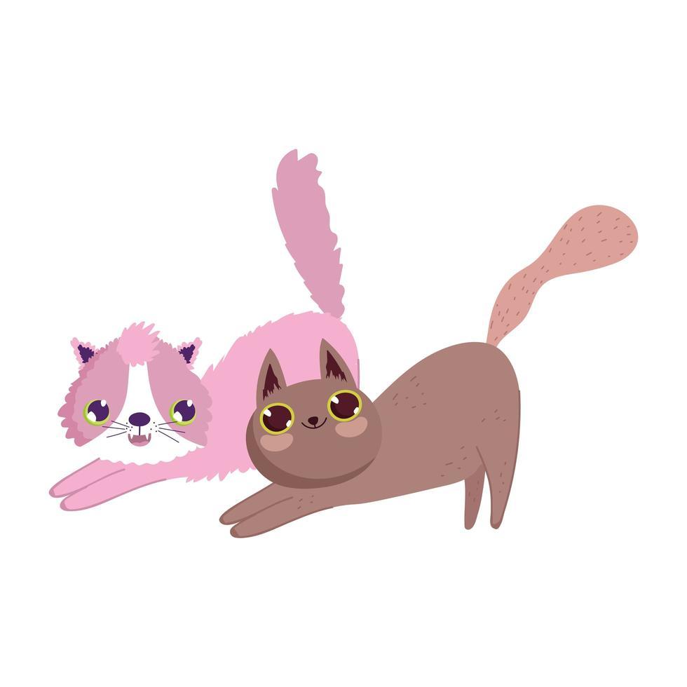 chats mignons étirant des animaux de compagnie félins vecteur