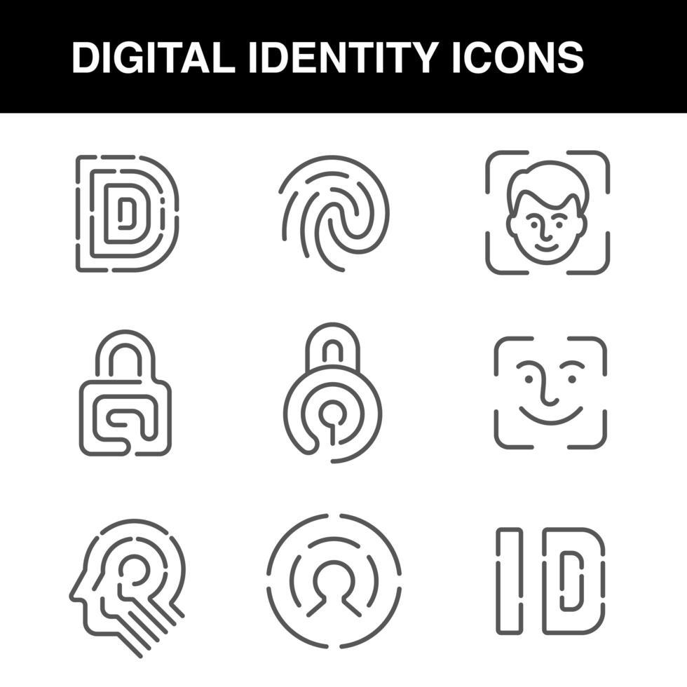 icônes d'identité numérique avec un trait modifiable vecteur