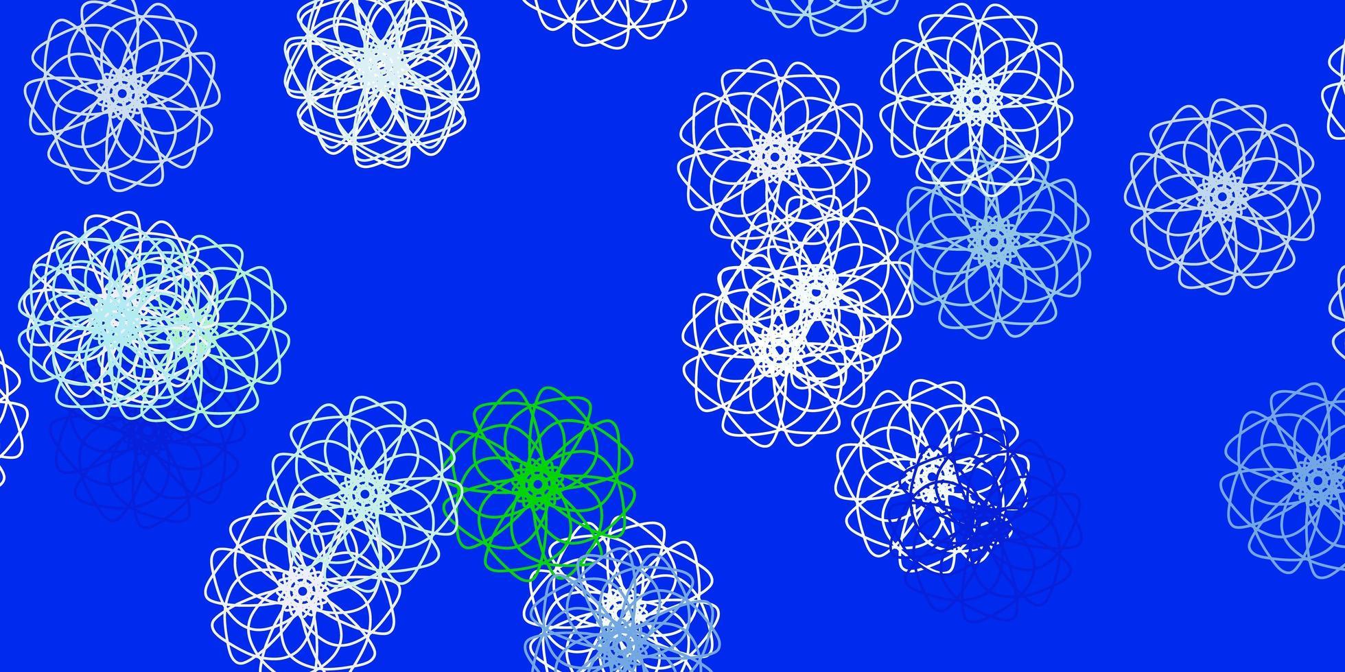 fond de doodle vecteur bleu clair, vert avec des fleurs.