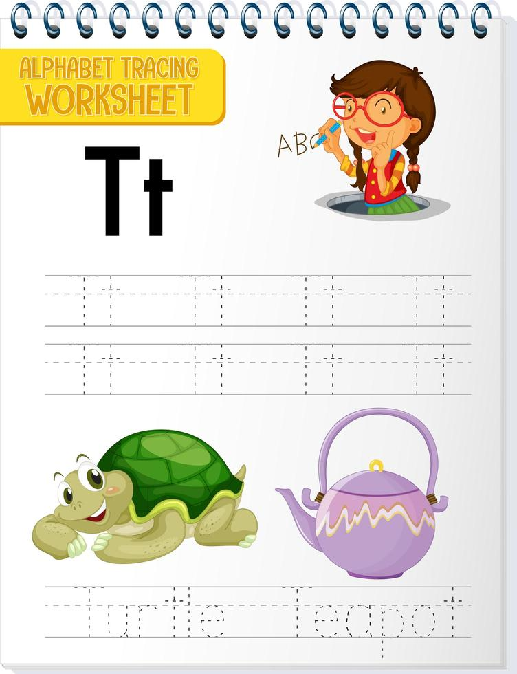 Feuille de calcul de traçage alphabet avec lettre t et t vecteur