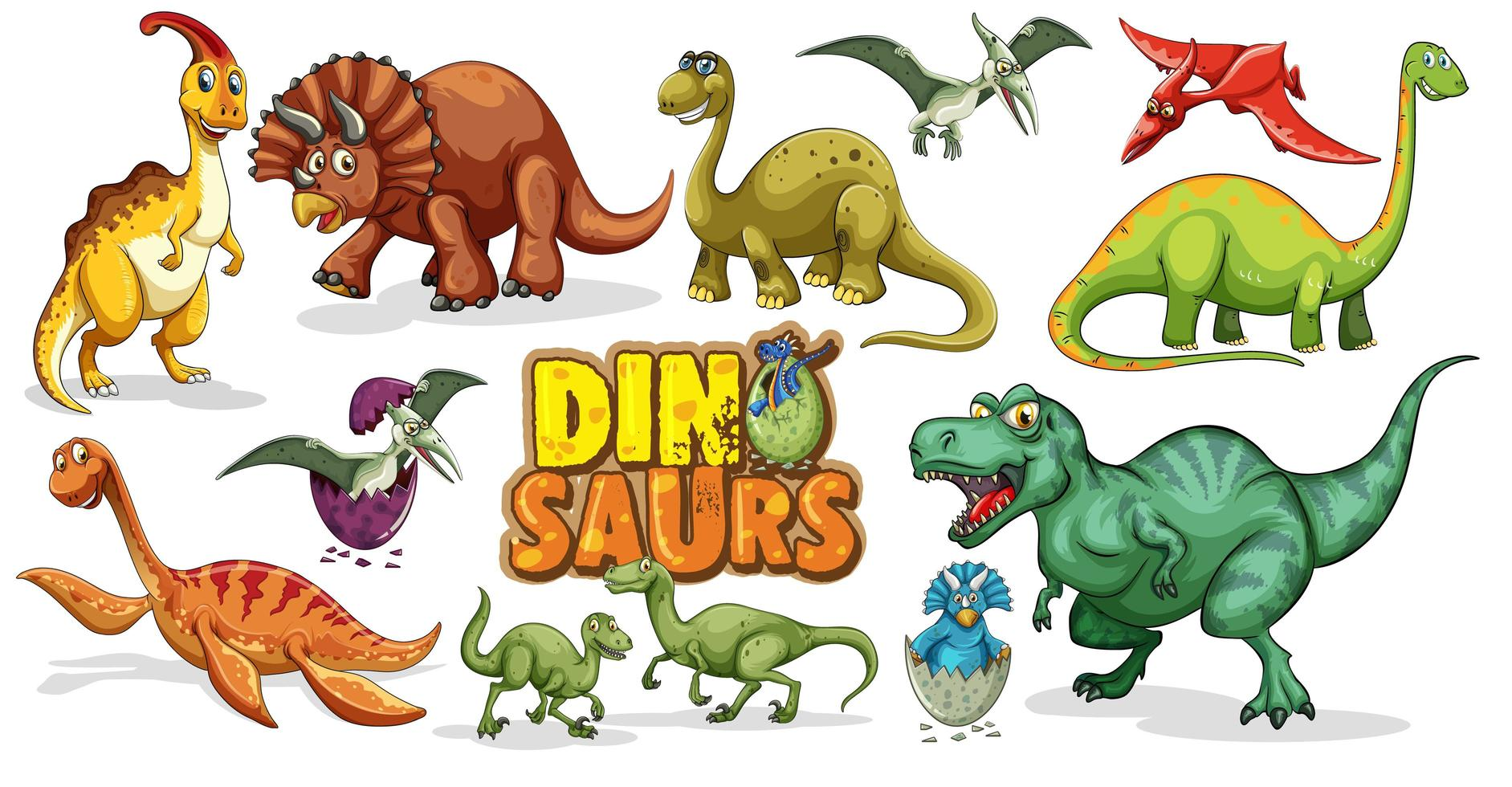 ensemble de personnage de dessin animé de dinosaures isolé sur fond blanc vecteur