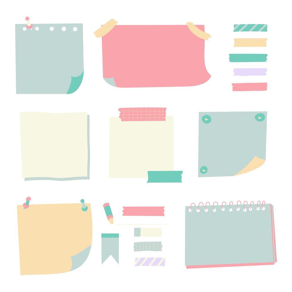 ensemble de vecteurs de divers papiers de notes vecteur