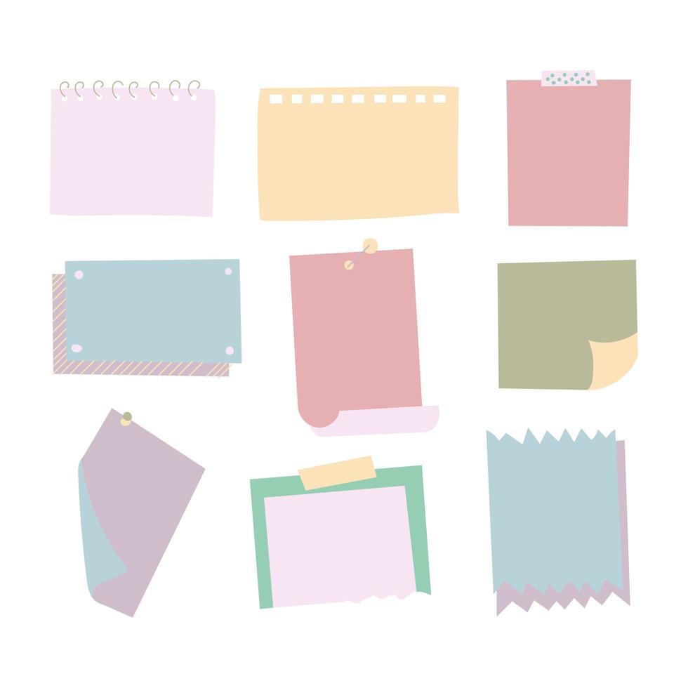 mémo notes icônes détaillées photo réaliste vector set