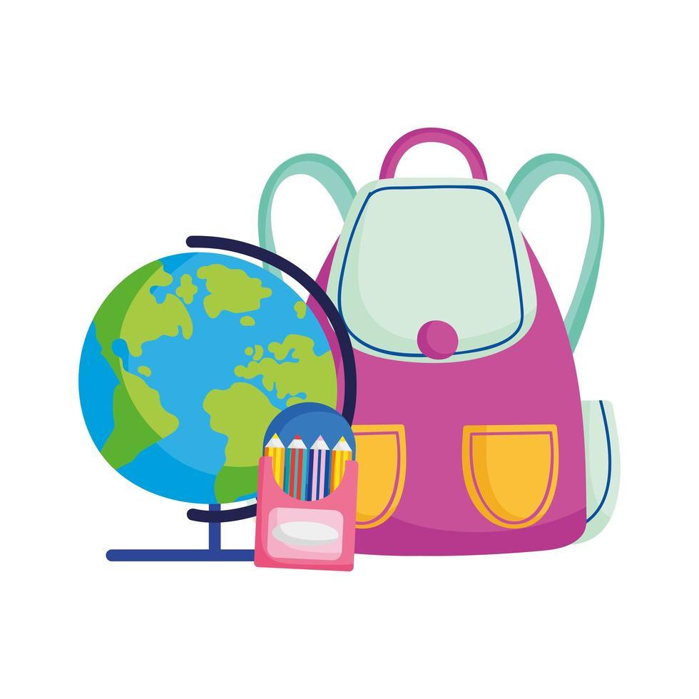 retour à lécole globe sac à dos crayons couleur dessin animé vecteur