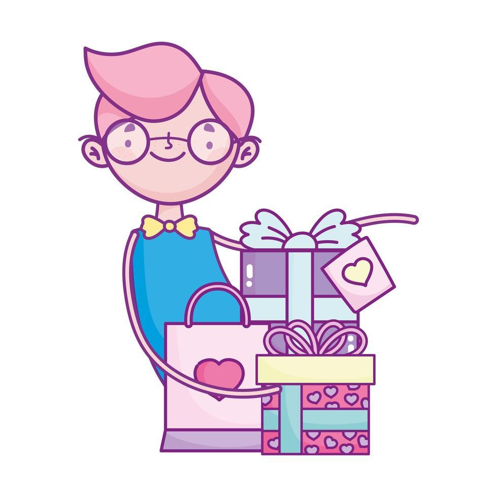 bonne saint valentin, garçon avec des cadeaux et célébration du sac à provisions vecteur