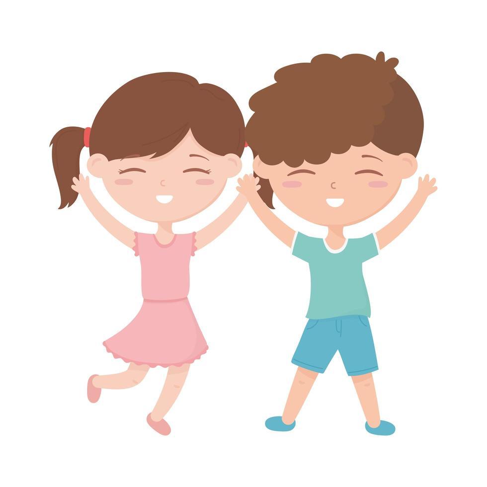 zone enfants, petit garçon et fille heureux célébrant le dessin animé vecteur