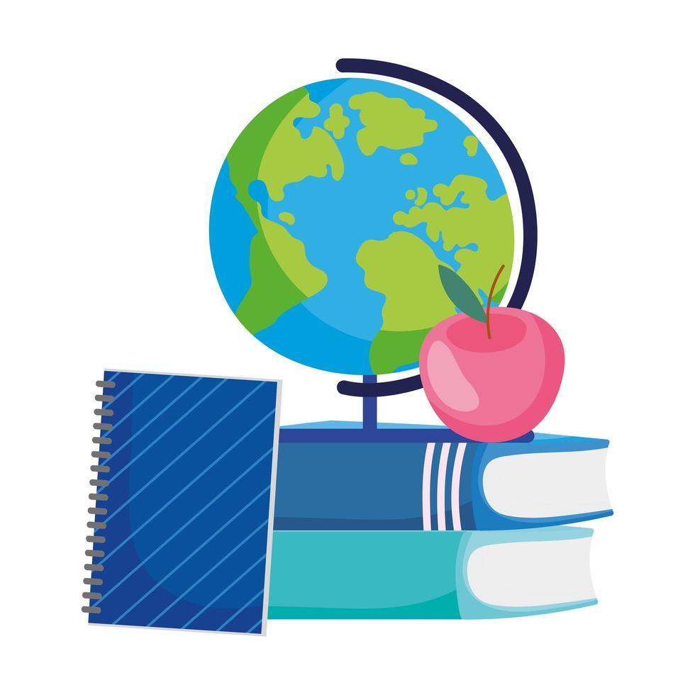 retour à l & # 39; école globe apple sur les livres et le dessin animé de bloc-notes vecteur