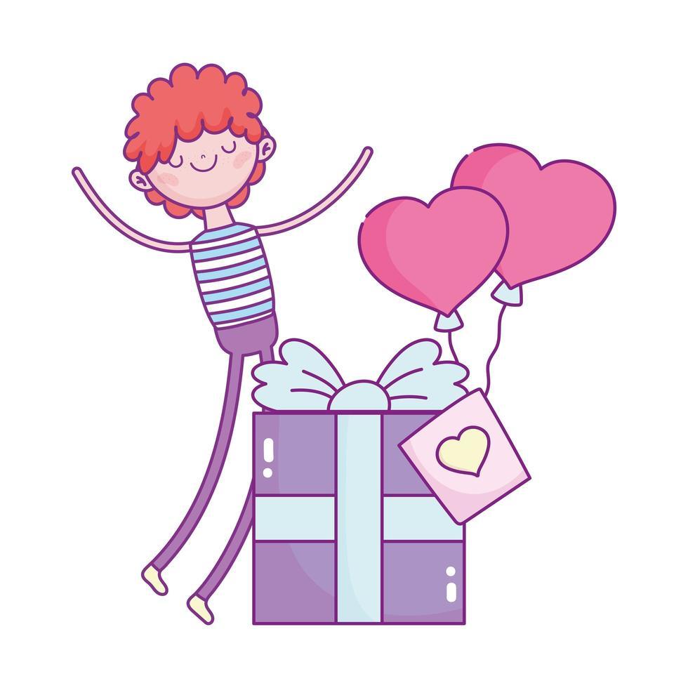joyeuse saint valentin, garçon avec boîte-cadeau et ballons en forme de coeur amour romantique vecteur