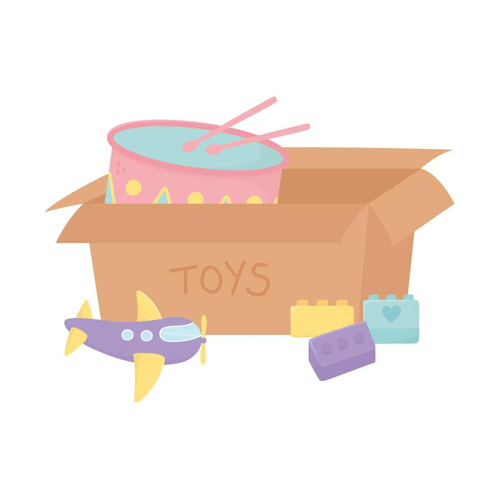 zone enfants, boîte en carton avec avion à tambour et jouets en briques vecteur