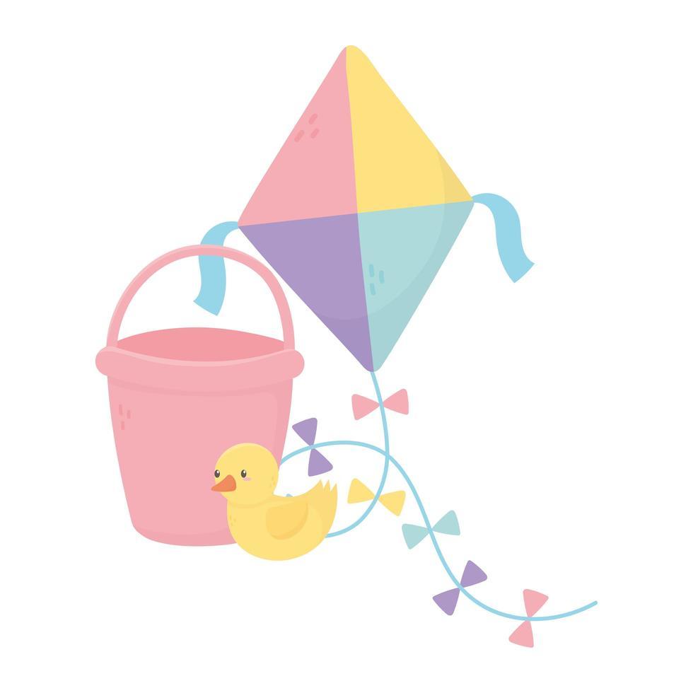 zone enfants, jouets cerf-volant seau canard vecteur