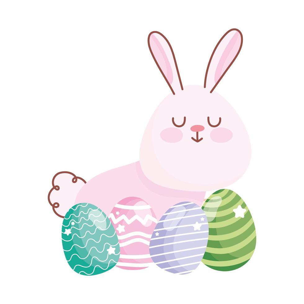joyeuses pâques lapin mignon et ornement décoratif d'oeufs vecteur
